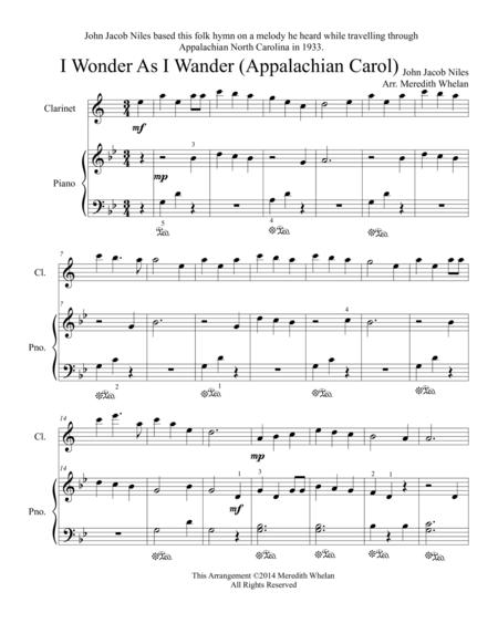 Christmas Duets for Clarinet & Piano:  I Wonder As I Wander (Appalachian Carol)
