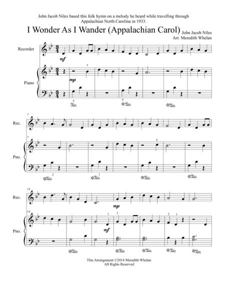 Christmas Duets for Recorder & Piano:  I Wonder As I Wander (Appalachian Carol)