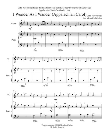 Christmas Duets for Violin & Piano:  I Wonder As I Wander (Appalachian Carol)