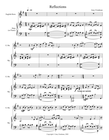 Reflections (for English horn and harp)