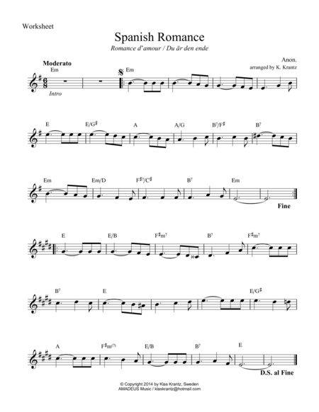 Spanish Romance / Romance anonimo in E Minor (lead sheet with guitar chords)