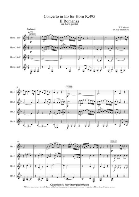 Mozart: Concerto in Eb for Horn K.495 II.Romanza - horn quartet