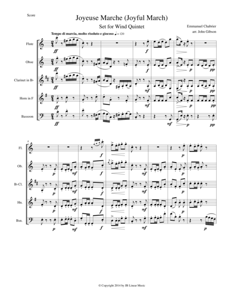 Joyful March set for woodwind quintet (Chabrier - Joyeuse Marche)