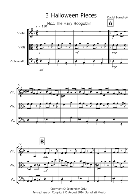 3 Halloween Pieces for String Trio