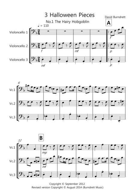 3 Halloween Pieces for Cello Trio