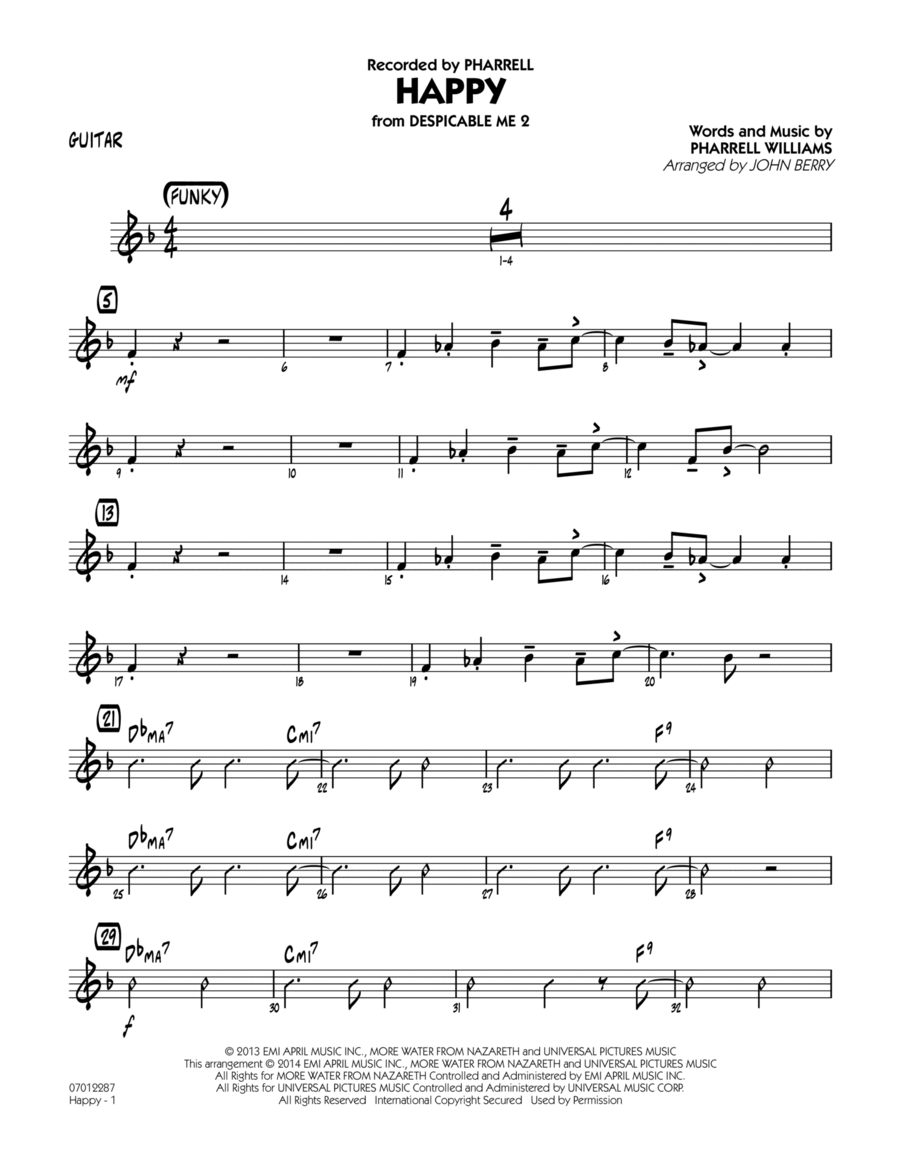Happy (from Despicable Me 2) - Guitar