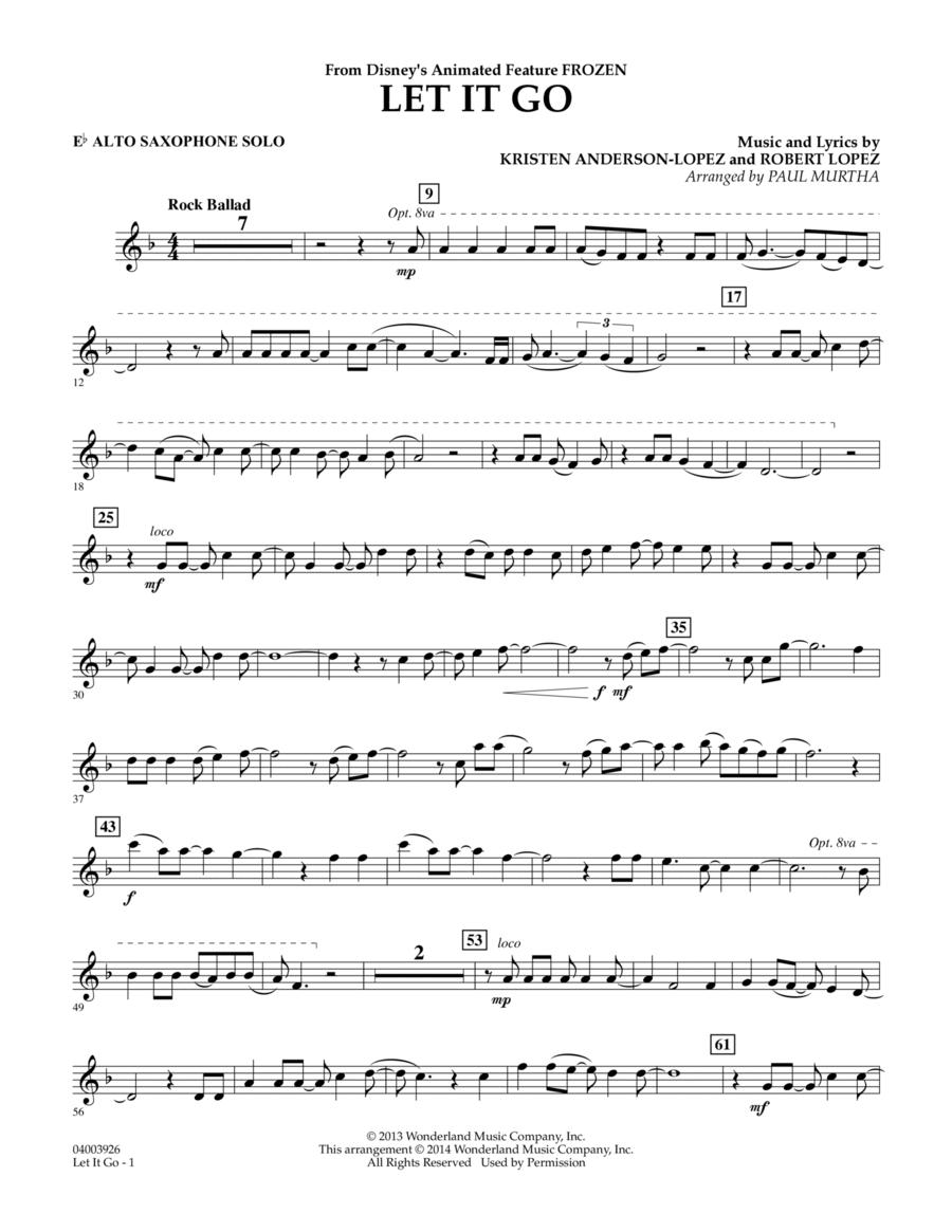 Let It Go - Eb Alto Saxophone Solo