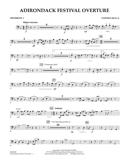 Adirondack Festival Overture - Trombone 3