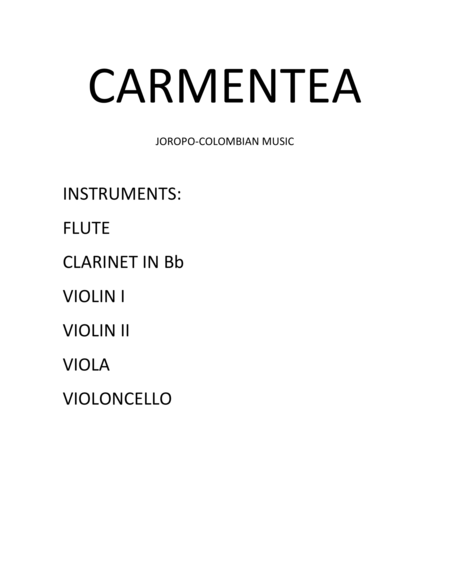 Colombian Music for sextet (Flute, Clarintet in Bb, Violin I, Violin II, Viola, Cello) genre: Joropo, Rhythm in 6-8