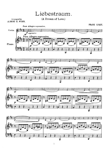 Liszt Liebestraum (A Dream of Love), for Violin & Piano, VN003