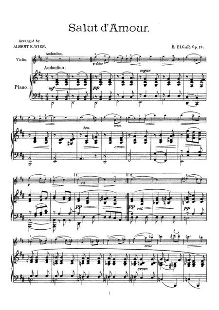 Elgar Salut d'Amour, for Violin & Piano, VN001