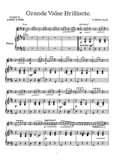 Chopin Grande valse brillante, for Violin & Piano, VN007