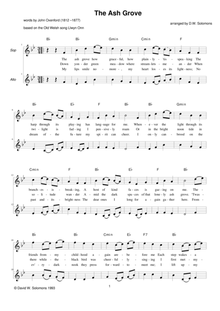The Ash Grove for 2 voices and guitar chords