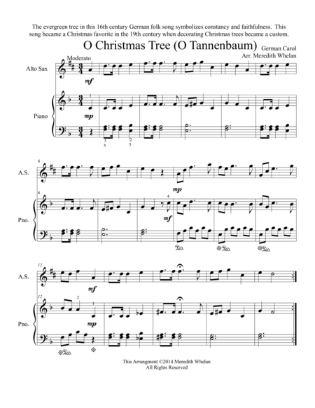 Chirstmas Duets for Alto Saxophone & Piano:  O Christmas Tree (O Tannenbaum)