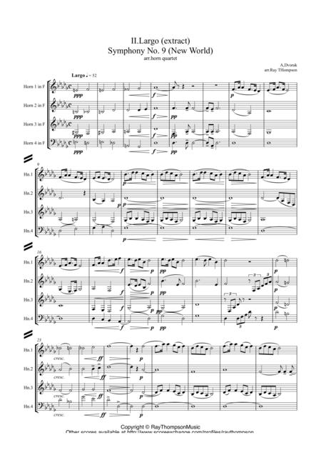 Dvorak: Largo (extract) from Symphony No.9 (New World) - horn quartet
