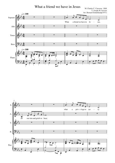 What a friend we have in Jesus for choir(SATB) and piano