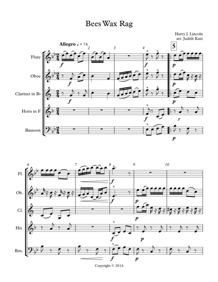 Bees Wax Rag - for woodwind quintet