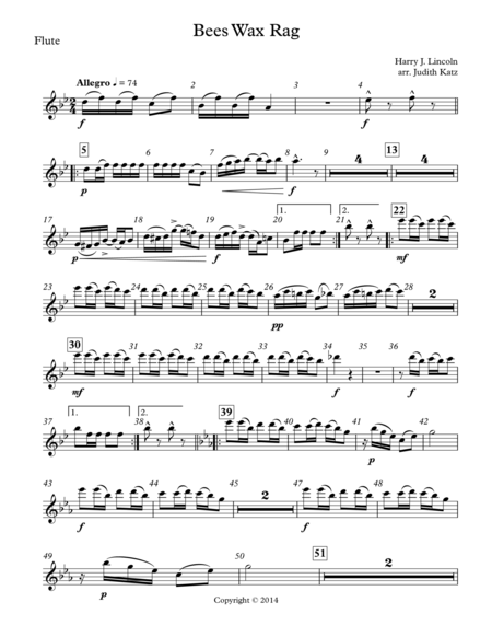 Bees Wax Rag - for woodwind quintet - Parts