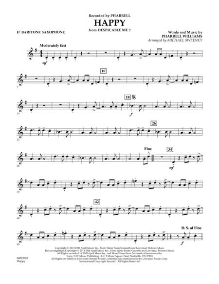 Happy (from Despicable Me 2) - Eb Baritone Saxophone