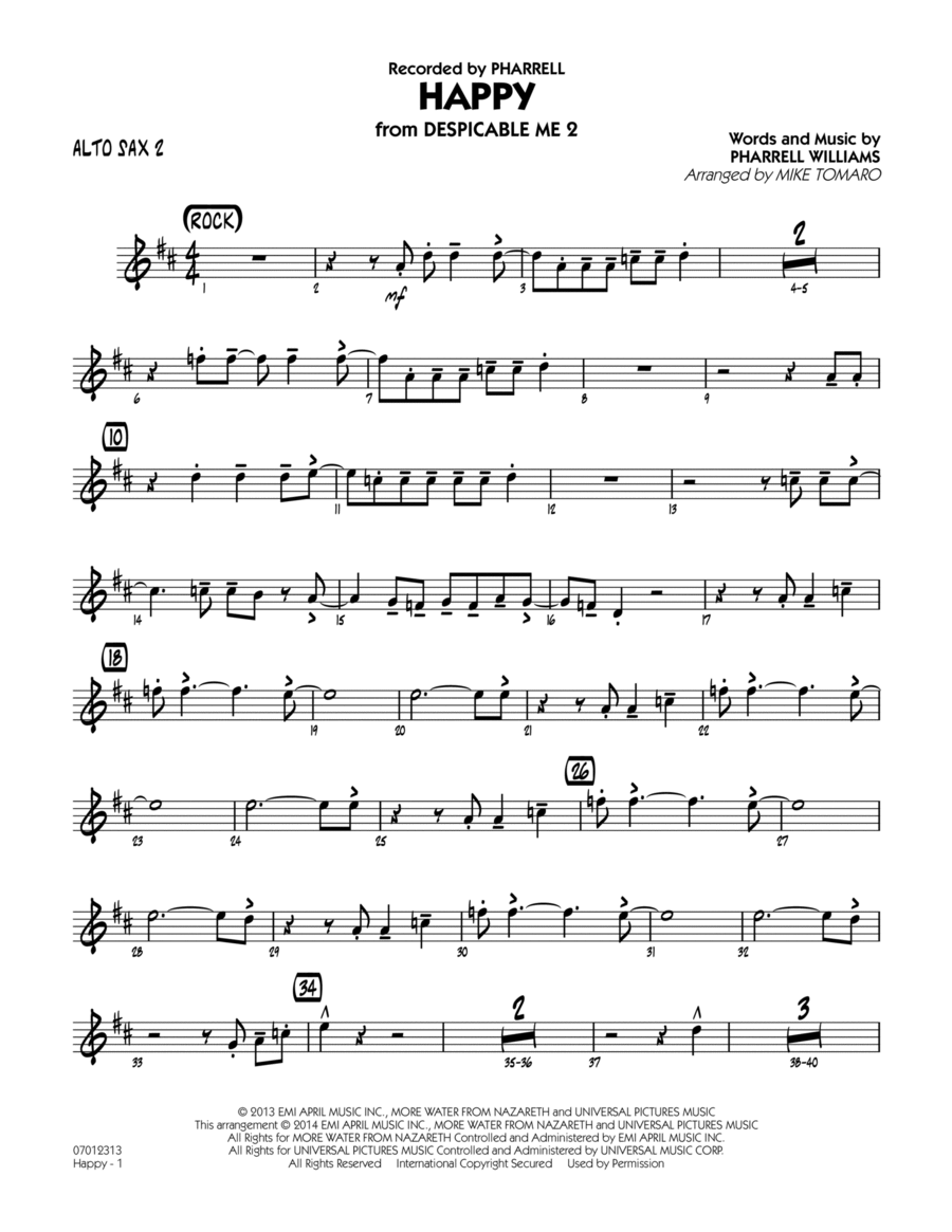 Happy (from Despicable Me 2) - Alto Sax 2