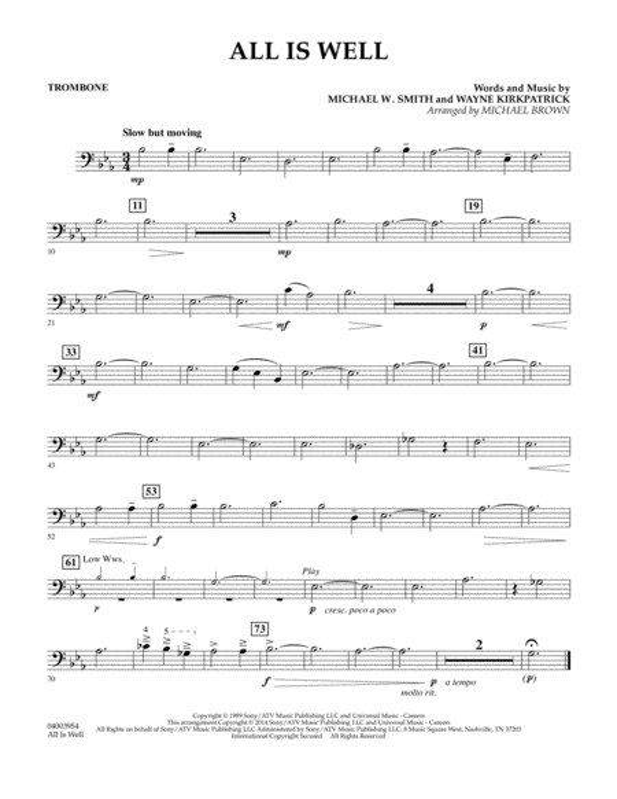 All Is Well - Trombone