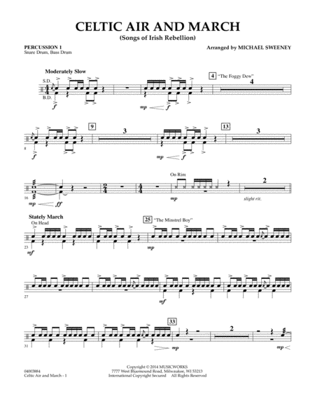 Celtic Air and March (Songs of Irish Rebellion) - Percussion 1