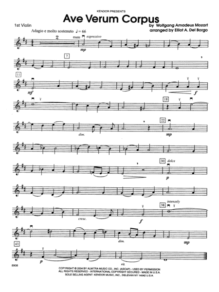 Ave Verum Corpus - Violin 1