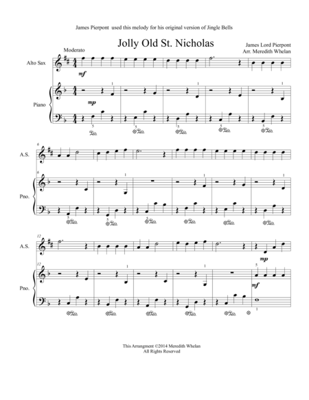 Christmas Duets for Alto Saxophone & Piano:  Jolly Old St. Nicholas