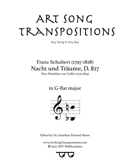 Nacht und Träume, D. 827 (G-flat major)