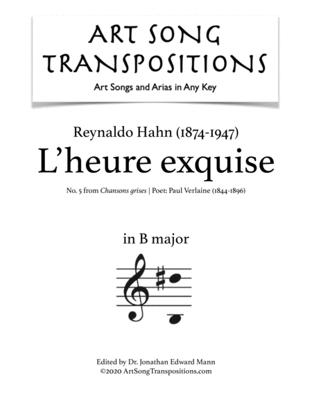 L'heure exquise (B major)