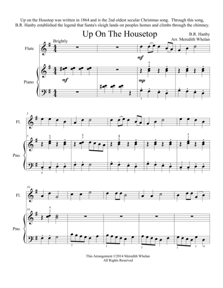 Download Christmas Duets For Flute & Piano: Up On The Housetop Sheet Music By Benjamin R. Hanby ...