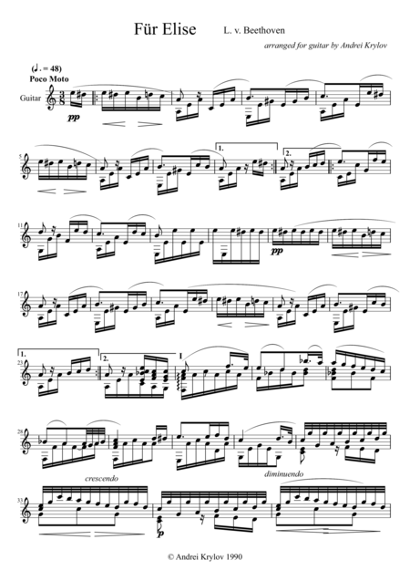 Guitar fur elise guitar tabs : Fur Elise Classical Guitar Sheet Music - für elise bagatelle no 25 ...