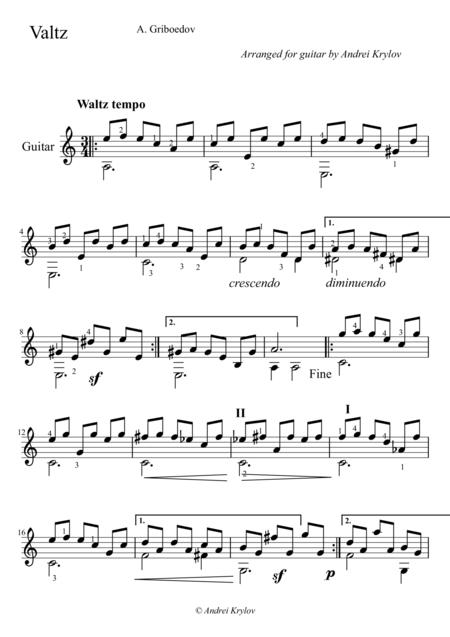 Valse, Waltze, by Griboyedov, Aleksandr, arrangement for classical guitar by Andrei Krylov
