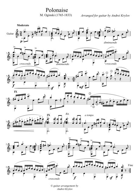 Polonaise 'Pożegnanie Ojczyzny' (Ogiński, Michał Kleofas), arrangement for classical guitar by Andrei Krylov
