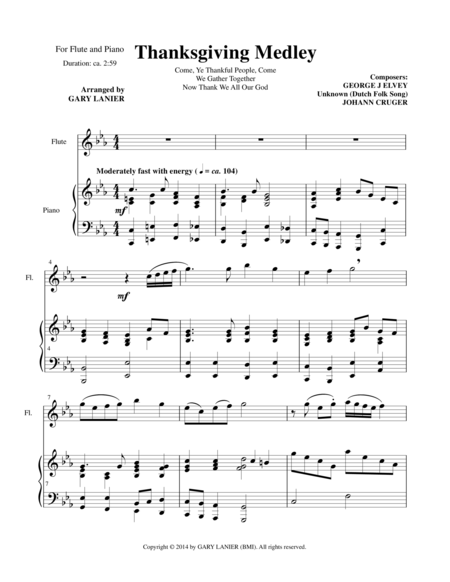 THANKSGIVING MEDLEY (Flute/Piano and Solo Flute Part)