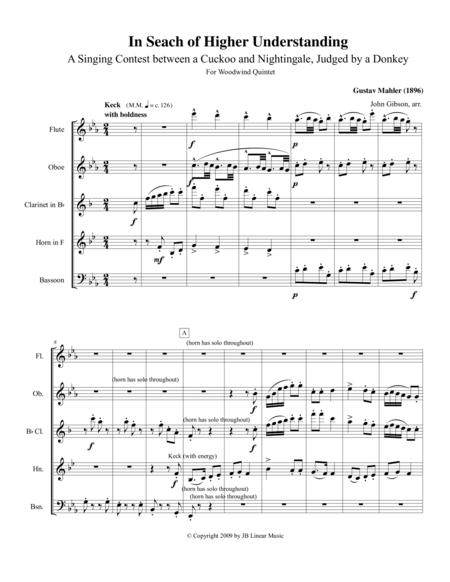 Mahler - In Search of Higher Understanding set for Wind Quintet