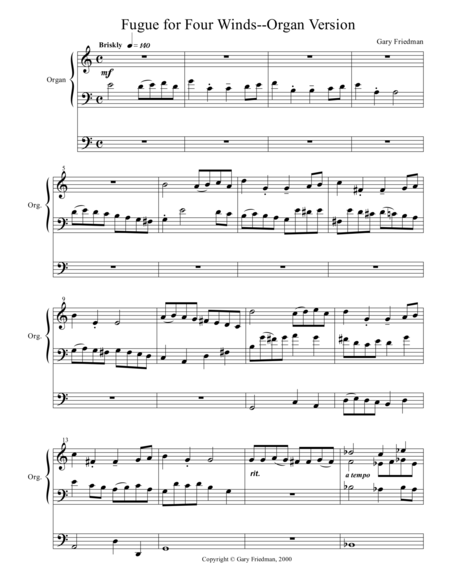 Fugue for Four Winds, Organ version