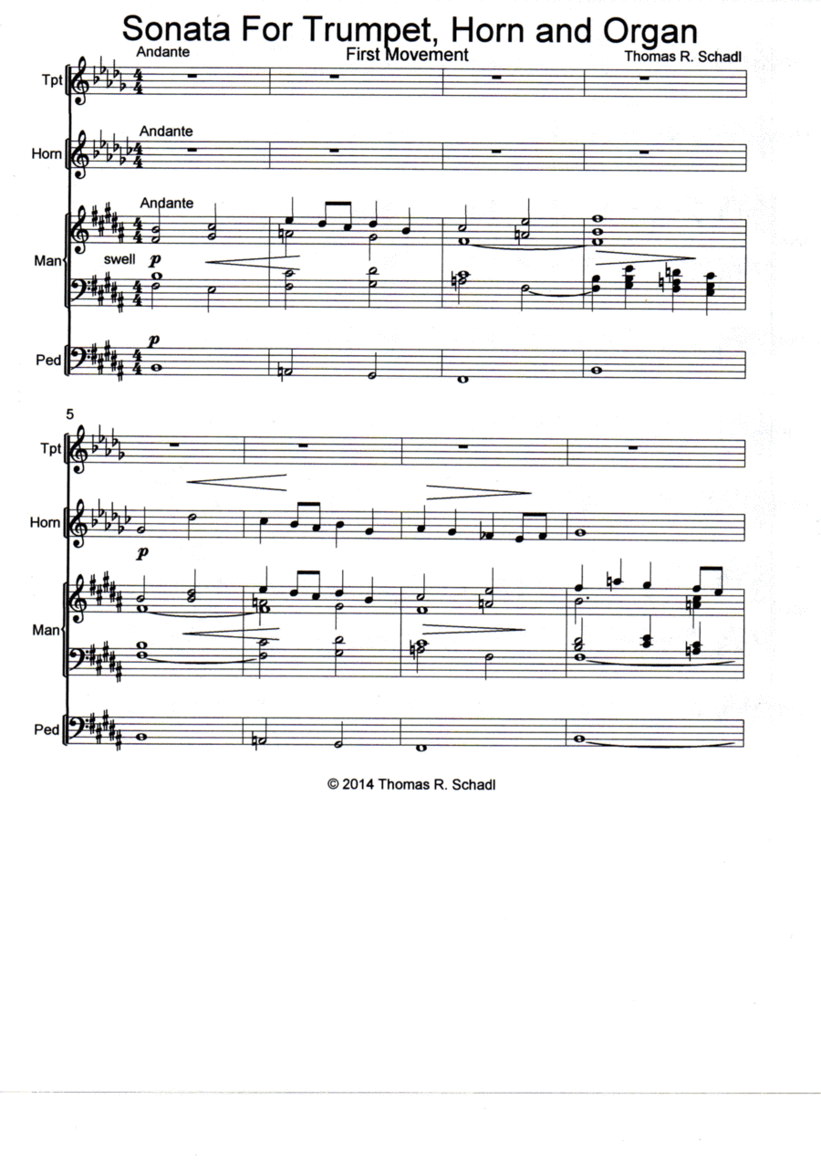 Sonata For Trumpet, Horn And Organ