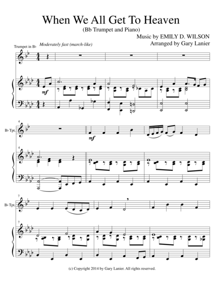 WHEN WE ALL GET TO HEAVEN (Bb Trumpet Piano and Trumpet Part)