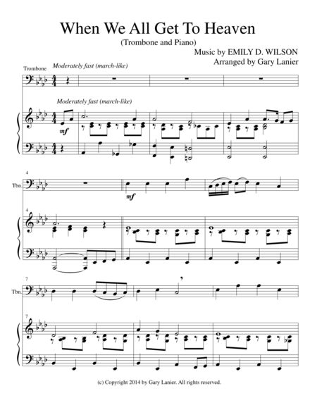 WHEN WE ALL GET TO HEAVEN (Trombone Piano and Trombone Part)