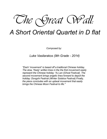 The Great Wall: A Short Oriental Flute Quartet