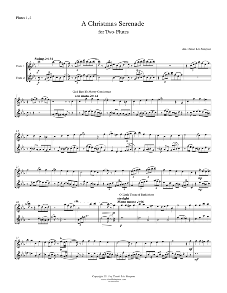 Christmas Serenade for Two Flutes (A Christmas medley of songs)