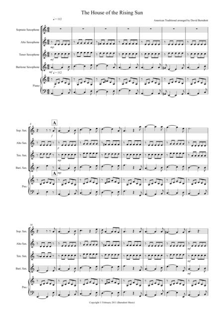 House of the Rising Sun for Saxophone Quartet