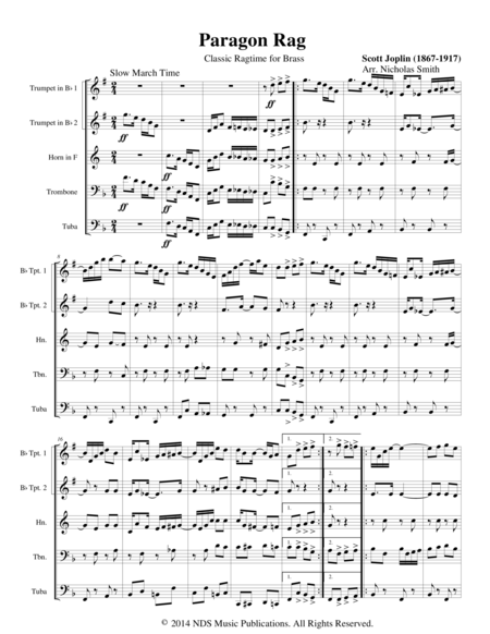 Paragon Rag: Classic Ragtime for Brass SCORE