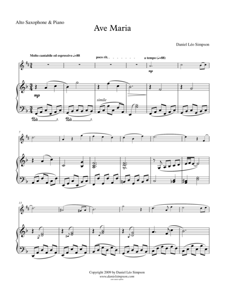 Ave Maria (for Eb Alto Saxophone & Piano)