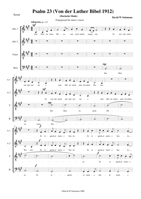 Psalm 23 - Der Herr ist mein Hirte - for choir (male voices or mixed choir)