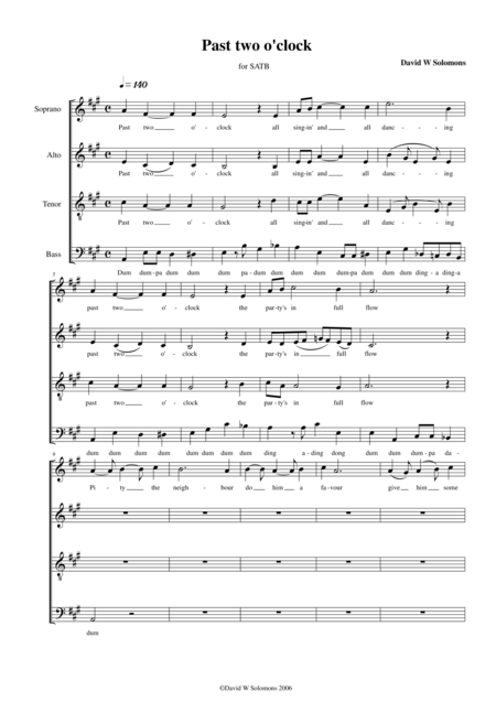 Past two o'clock for mixed voice choir (SATB)