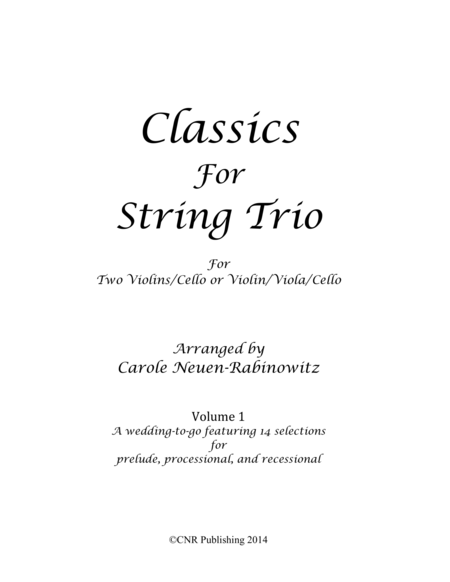 Classics for String Trio Vol 1