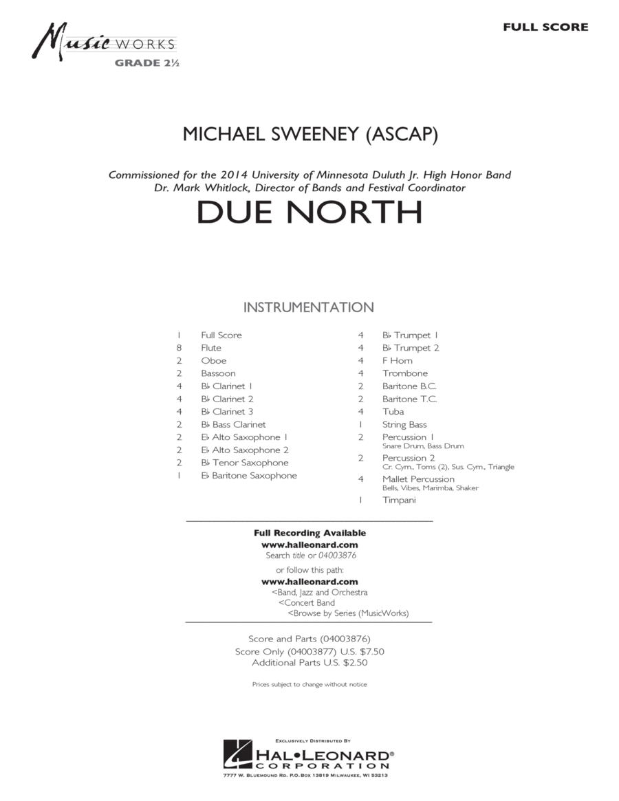 Due North - Full Score
