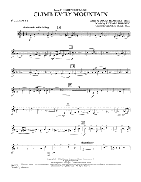 Climb Ev'ry Mountain (from The Sound of Music) - Bb Clarinet 2